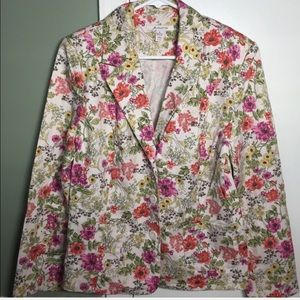 JM COLLECTION cream and colorful floral blazer 12